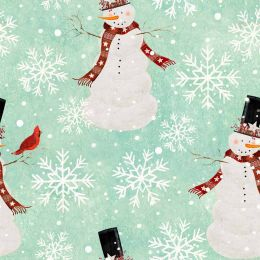 Home For The Holidays Fabric   Snowman Turquoise