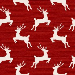 Home For The Holidays Fabric   Reindeer Red