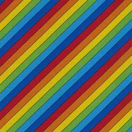 Rainbow Stripe Fabric   Multicoloured