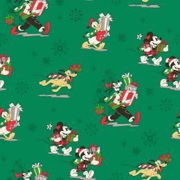 Disney Christmas Fabric | Mickey & Friends Green