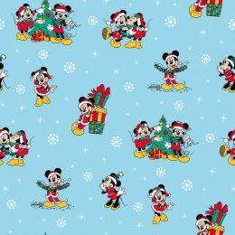 Disney Christmas Fabric | Mickey & Friends Blue