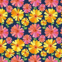 The Very Hungry Caterpillar Fabric | Flower Fancy Navy
