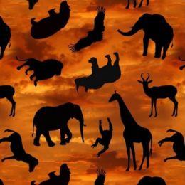 African Safari Fabric   Safari Silhouettes