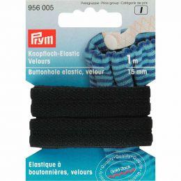 Buttonhole Elastic Velour, 15mm x 1m - Black | Prym