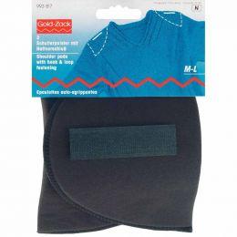 Set-In Shoulder Pads | Hook & Loop Fasten | Any Clothing | M-L, Black | Prym