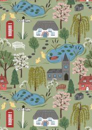 The Village Pond Fabric | Village Scene Light Grass