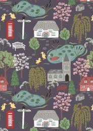 The Village Pond Fabric | Village Scene Rich Grey