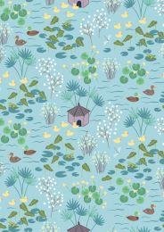 The Village Pond Fabric | Duck Pond Light Blue