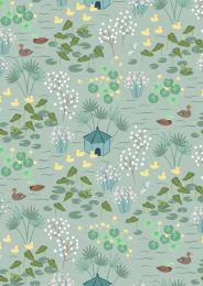 The Village Pond Fabric | Duck Pond Duck Egg