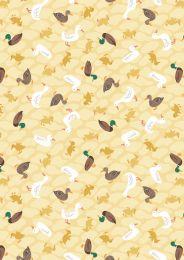 The Village Pond Fabric | Ducks Spring Yellow