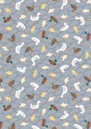 The Village Pond Fabric | Ducks Grey