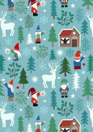 Hygge Glow Fabric | Tomte Forest Icy Blue