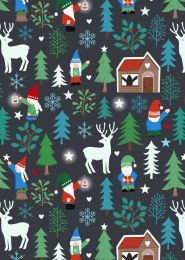 Hygge Glow Fabric | Tomte Forest Charcoal
