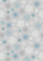 Hygge Glow Fabric   Snowflakes Silver