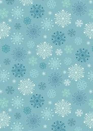 Hygge Glow Fabric | Snowflakes Icy Blue