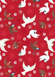 Hygge Glow Fabric | Flying Tomte Red