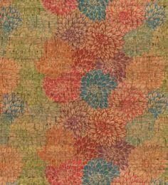Cork Fabric Print | Multi Dahlia
