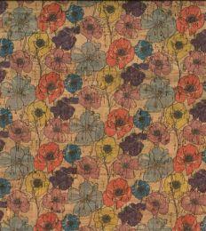 Cork Fabric Print | Multi Poppy