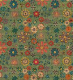 Cork Fabric Print   Flower Green