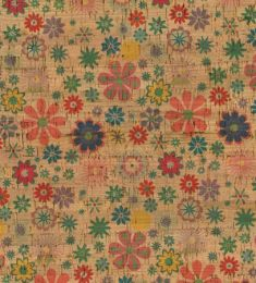 Cork Fabric Print | Flower Red