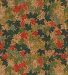 Cork Fabric Print | Leaf Red