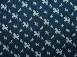 Cotton Chambray Fabric - Stallion Design Dark Blue | Empress Mills
