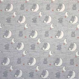 Cotton Fabric Print | Miffy Moon on Stripes
