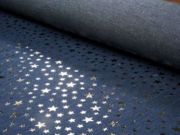 Sparkling Chambray Fabric | Gold Metallic Multi Star on Dark Blue