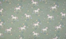 Jersey Cotton Fabric | Delicate Unicorn Dusty Green