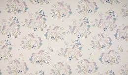 Jersey Cotton Fabric | Delicate Unicorn White