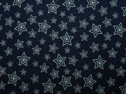 Denim Fabric Print | Concentric Stars Dark Blue