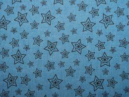 Printed Denim Concentric Stars Light Blue