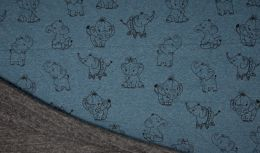Luxury Sweatshirt Fabric   Blue Melange Elephant