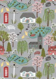 The Village Pond Fabric | Village Scene Light Grey
