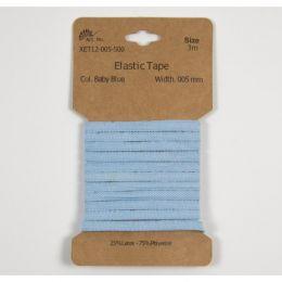 Classic Flat Elastic, 5mm Baby Blue - 3m