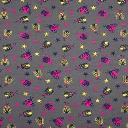 Jersey Cotton Fabric | Bugs Grey