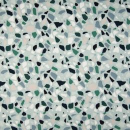 Jersey Cotton Fabric   Pebbles Blue