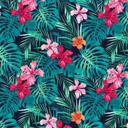 Floral Turquoise Fabric, Pure Cotton