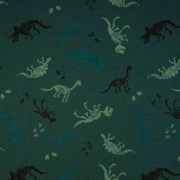 Jersey Cotton Fabric | Skeleton Dark Green