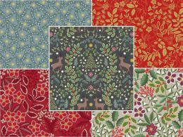 Noel Metallic Christmas Fabric | Fat Quarter Pack 2