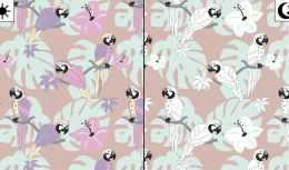 Light Reactive Jersey Fabric | Parrot Paradise Dusty Pink