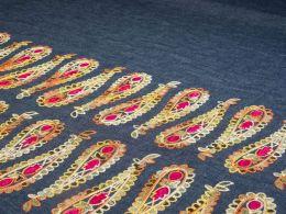 Embroidered Denim Fabric Border   Paisley Pendulum Amber