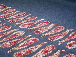 Embroidered Denim Fabric Border   Paisley Pendulum Pink