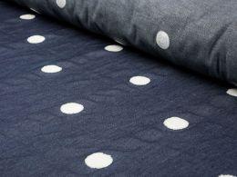 Embroidered Denim Fabric   Soft Spot White