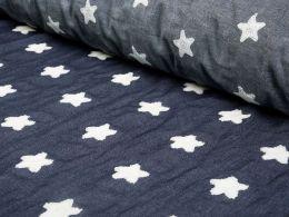 Embroidered Denim Fabric   Soft Star White