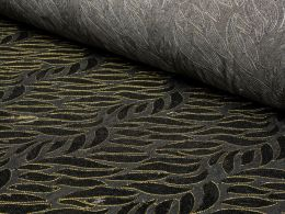 Decorative Floral Sequin Denim Fabric with gold embroidered border detailing. Empress Mills Denim Fabric Collection.