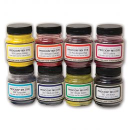Jacquard Procion Dye Set, 8 Shade selection of 19g pots.