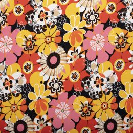 Jersey Viscose Print   Floral Orange