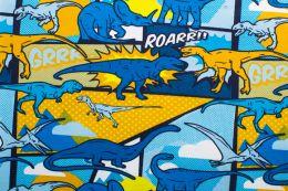 Jersey Cotton Print   Dino Roar - Royal