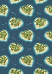 Lewis & Irene | Island Girl Fabric Deep Blue Heart Islands